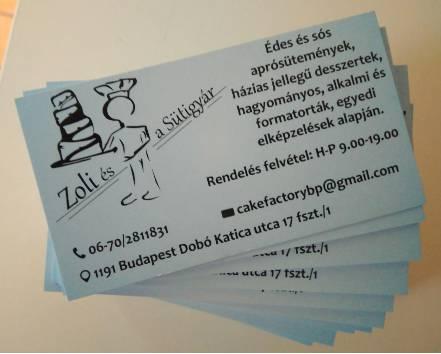 Egy oldalas névjegykártya - Sütigyár